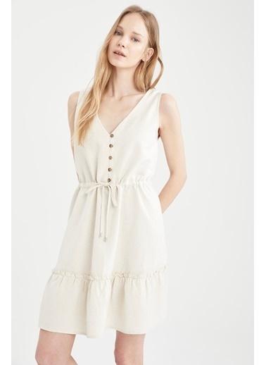 DeFacto Volan Detaylı V Yaka Beli Bağcıklı Keten Elbise Beyaz